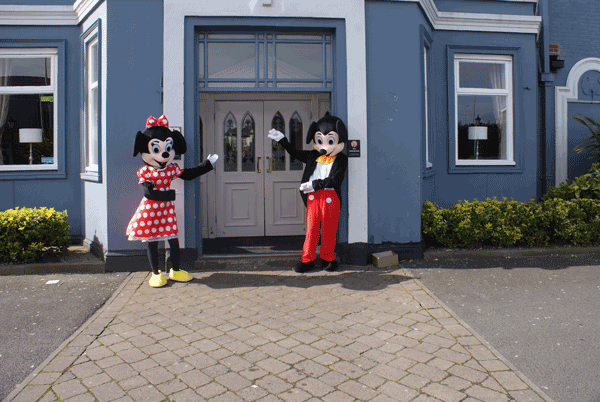 childrens entertainer - Dj Gary Mayo with Mickey and Minnie on site in Blackpool